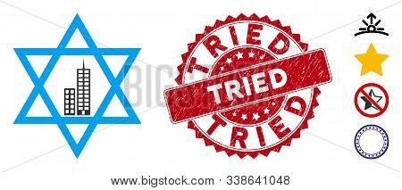 Vector Jerusalem Star Icon And Corroded Round Stamp Seal With Tried Text. Flat Jerusalem Star Icon I