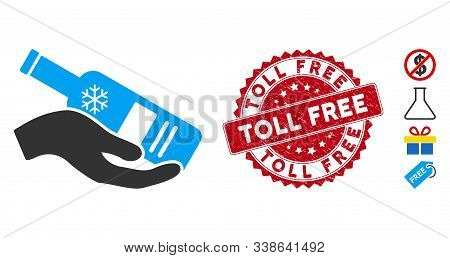 Vector Free Vodka Bottle Icon And Corroded Round Stamp Seal With Toll Free Caption. Flat Free Vodka