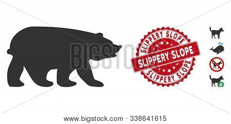 Vector Bear Icon And Corroded Round Stamp Seal With Slippery Slope Phrase. Flat Bear Icon Is Isolate