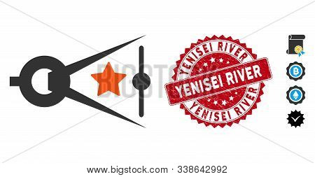 Vector Quality Inspection Icon And Rubber Round Stamp Seal With Yenisei River Phrase. Flat Quality I