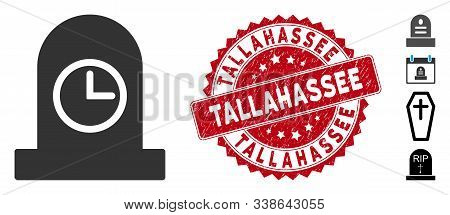Vector Expired Grave Icon And Rubber Round Stamp Seal With Tallahassee Text. Flat Expired Grave Icon