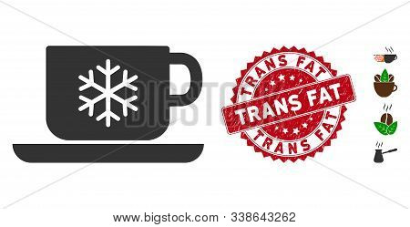 Vector Ice Coffee Icon And Grunge Round Stamp Seal With Trans Fat Caption. Flat Ice Coffee Icon Is I