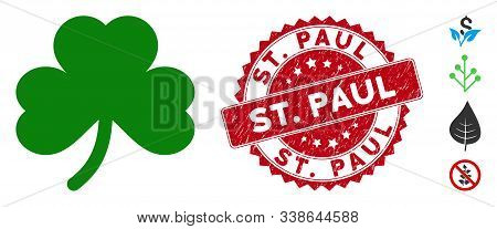 Vector Clover Leaf Icon And Grunge Round Stamp Watermark With St. Paul Text. Flat Clover Leaf Icon I