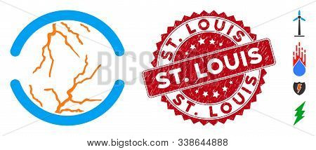 Vector Clean Energy Icon And Grunge Round Stamp Seal With St. Louis Text. Flat Clean Energy Icon Is