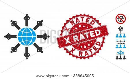 Vector Planetary Society Icon And Rubber Round Stamp Seal With X Rated Caption. Flat Planetary Socie