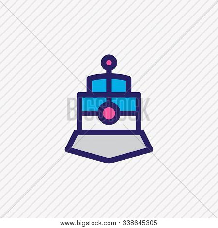 Vector Illustration Of Train Icon Colored Line. Beautiful Vehicle Element Also Can Be Used As Street