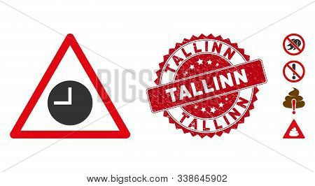 Vector Expired Warning Icon And Rubber Round Stamp Seal With Tallinn Text. Flat Expired Warning Icon