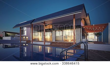 modern house building exterior. 3D rendering architecture concept