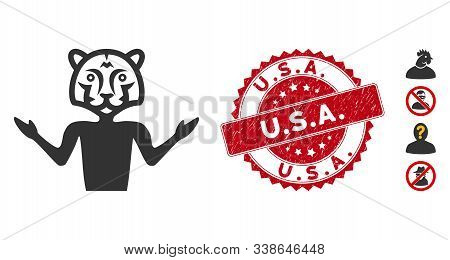 Vector Masquerade Icon And Rubber Round Stamp Seal With U.s.a. Caption. Flat Masquerade Icon Is Isol