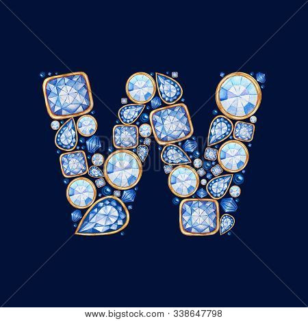 Blue Crystal Big Letter W With Gold. Alphabet With Diamonds, Brilliant, Jewelry Shop Logo Concept On