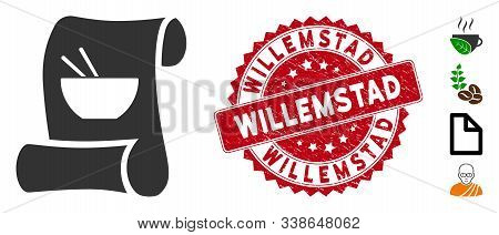 Vector Original Asian Recipe Icon And Rubber Round Stamp Seal With Willemstad Phrase. Flat Original