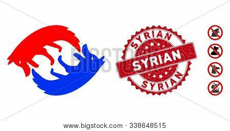 Vector Dog Eat Dog Icon And Grunge Round Stamp Seal With Syrian Text. Flat Dog Eat Dog Icon Is Isola