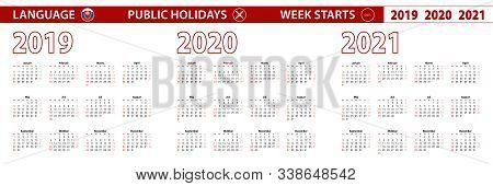 2019, 2020, 2021 Year Vector Calendar In Slovak Language, Week Starts On Sunday. Vector Calendar.