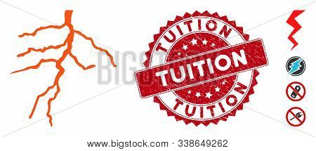 Vector Lightning Icon And Grunge Round Stamp Seal With Tuition Text. Flat Lightning Icon Is Isolated