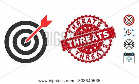 Vector Goal Icon And Corroded Round Stamp Seal With Threats Phrase. Flat Goal Icon Is Isolated On A