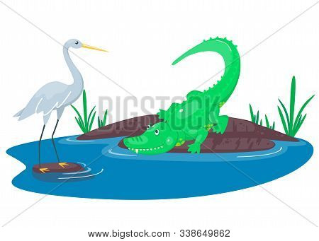 Crocodile Hunting On The Heron In The Lake. Happy Cute Cartoon Alligator And Bird In The Blue Swamp