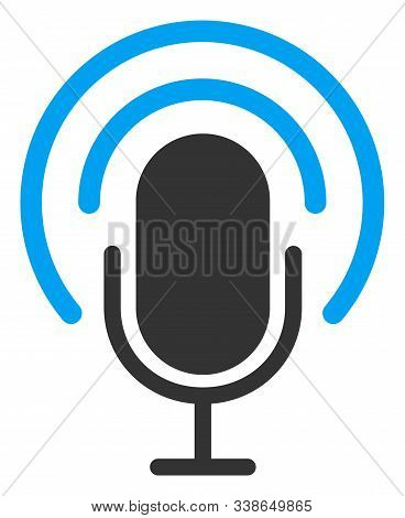 Podcast Raster Icon. Flat Podcast Pictogram Is Isolated On A White Background.