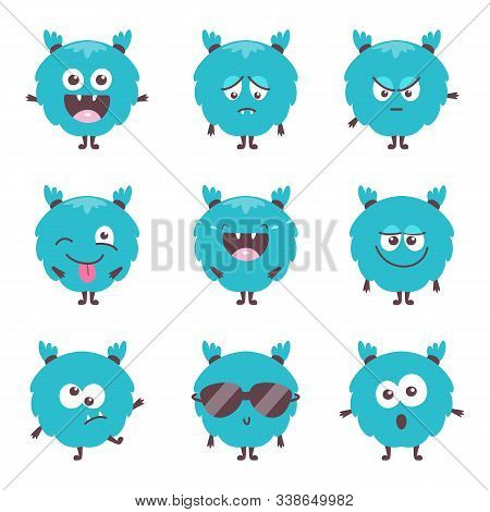 Set Of Cute Cartoon Bluel Monster Emotions. Funny Emoticons Emojis For Kids. Fantasy Characters. Vec
