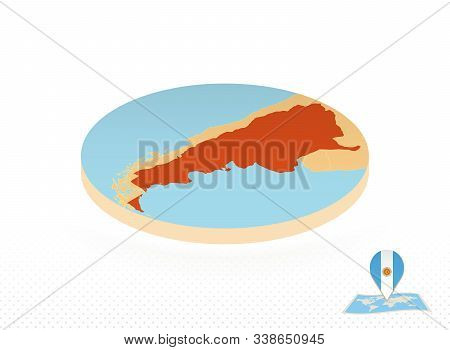 Argentina Map Designed In Isometric Style, Orange Circle Map Of Argentina For Web, Infographic And M