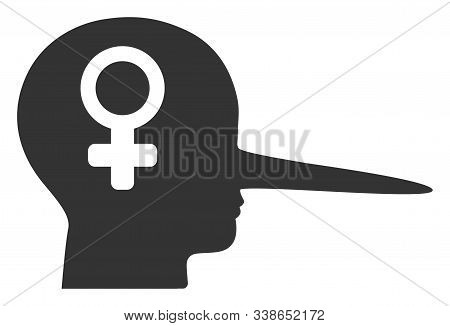 Female Scammer Raster Icon. Flat Female Scammer Symbol Is Isolated On A White Background.