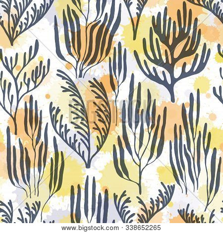 Ocean Corals Seamless Pattern. Paint Splashes Drops Watercolor Background. Mediterranean Staghorn An