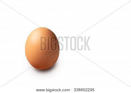 Single Brown Chicken Egg Isolated On White Background Cutout