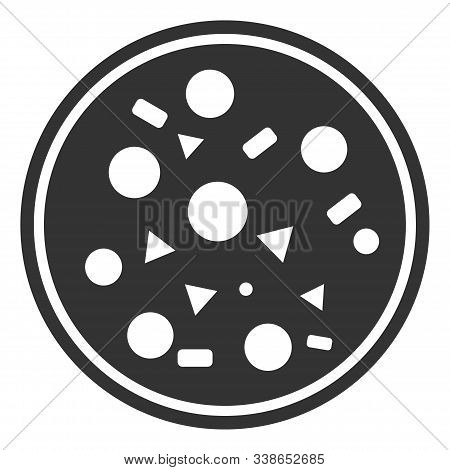 Entire Pizza Raster Icon. Flat Entire Pizza Pictogram Is Isolated On A White Background.