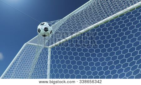 3d Illustration Soccer Ball Flew Into The Goal. Soccer Ball Bends The Net, Against The Background Of