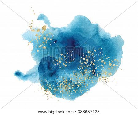 Watercolor Abstract Splash Color Painting Texture. Blue Background Decor