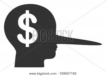 Financial Scammer Raster Icon. Flat Financial Scammer Pictogram Is Isolated On A White Background.
