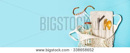 Banner With Set Of Reusable Items For An Eco-friendly Lifestyle. Eco Bag, Glass Bottle For Water, Me