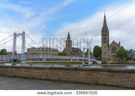 View Of Greig Street Bridge With The Free North Church Of Scotland In The Background Across The Rive