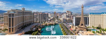 Panoramic View Of Las Vegas Strip As Seen At Sunny Day On July 4, 2019 In Las Vegas, Usa. The Strip