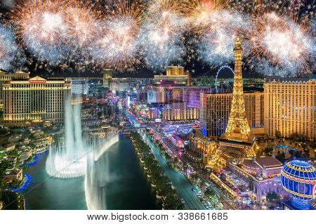 New Year fireworks on Las Vegas Strip on January 2, 2019 in Las Vegas, USA. The Strip is home to the largest hotels and casinos in the world.