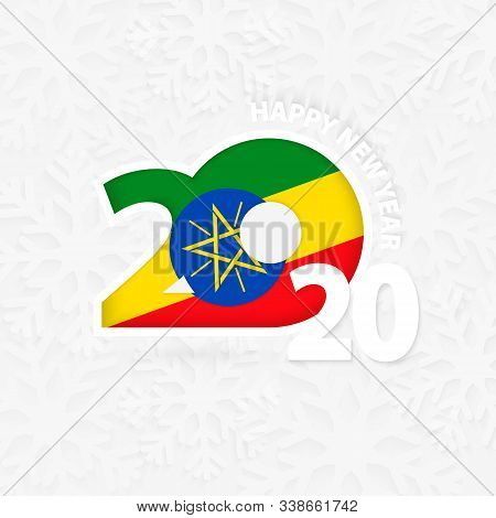 Happy New Year 2020 For Ethiopia On Snowflake Background. Greeting Ethiopia With New 2020 Year.