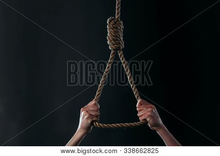 Cropped View Of Despaired Woman Going To Commit Suicide While Holding Hanging Rope Noose Isolated On