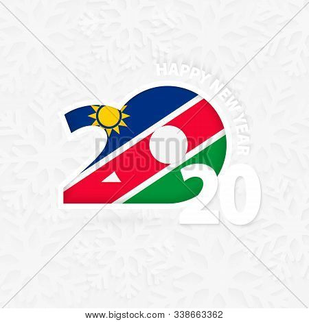 Happy New Year 2020 For Namibia On Snowflake Background. Greeting Namibia With New 2020 Year.