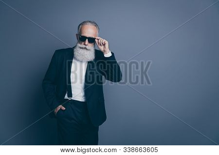 Portrait Of His He Nice Attractive Chic Classy Brutal Serious Arrogant Gray-haired Man Wearing Tux T