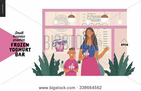 Frozen Yoghurt Bar - Small Business Graphics - Customers -modern Flat Vector Concept Illustrations -
