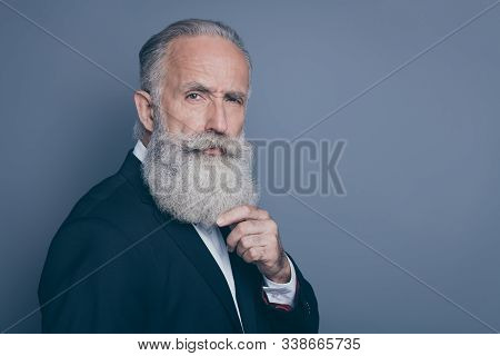 Close-up Profile Side View Portrait Of His He Nice Attractive Suspicious Well-groomed Gray-haired Ma