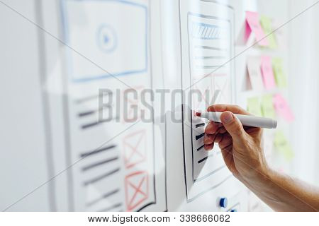 Close Up Of Young Web Designer Drawing Website Responsive Layout On White Board