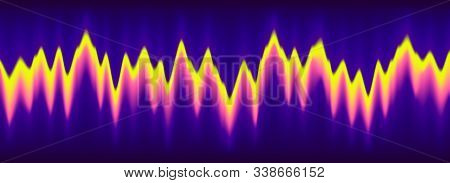 Neon Music Equalizer, Magnetic Or Sonic Wave Techno Vector Background. Sound Audio Wave Frequency Fl