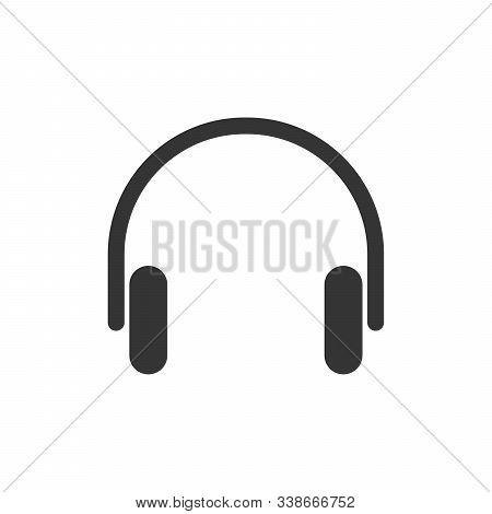 Vector Headphones Icon. Black Headphones In Flat Design. Headphones Icon Isolated.