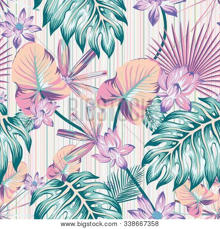 Winter Cold Style Tropical Flowers And Leaves Illustration Vector Repeat Pattern Seamless Floral Wal
