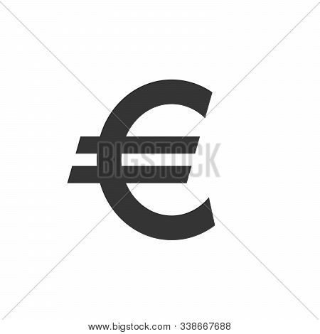 Vector Euro Icon. Black Symbol Of Euro Money. Vector Euro Coin Icon Isolated. Money Concept