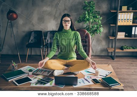Portrait Of Her She Nice Attractive Experienced Professional Girl Agent Broker Meditating Training S