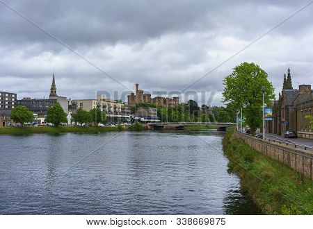 Inverness , Scotland - May 22 , 2019 : Beautiful Scenery Of Inverness Viewing Inverness Castle , Nes