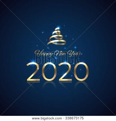 2020 New Year. Shiny Golden 2020 With Ribbon On Blue Background. Shiny Gold Logo. Holiday Greeting C