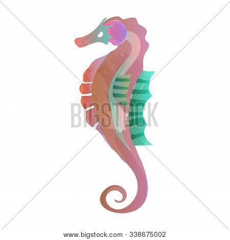 Watercolor Seahorse, Vector Illustration. Seahorse, Sea, Horse, Fish, Water,