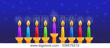 Jewish Holiday Of Hanukkah, Nine Colored Burning Candles, Hanukkah Menorah, Nine-branched Candelabru